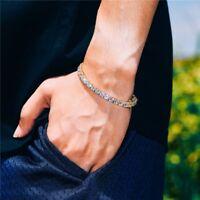 Mens Womens 1 Row Lab Simulated Diamond Tennis Bracelet 14k Gold