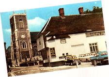 Vintage Unused Postcard, Norfolk, Thetford, Bell Hotel & St Peters Church 2