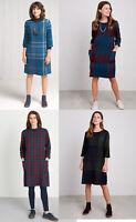 Seasalt Scoop Neck 3/4 Sleeve Check Cotton shift Tunic Top dress 12 14 16 18 20