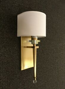 Aged Brass Modern Wall Sconce Light with Wrap Around Shade/Crystal Accents