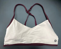 Lululemon Womens 4 Sports Bra Pink Maroon Trimmed Strappy Racerback Bikini Top