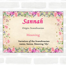 Sannah Name Meaning Floral Certificate