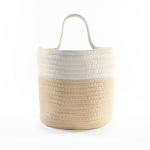 Hanging Cotton Rope Basket for Storage & Laundry, Woven Rattan Design M&W