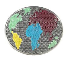 Silver World Peace Map Gay Pride Color Globe Unisex Womens Mens Belt Buckle NEW