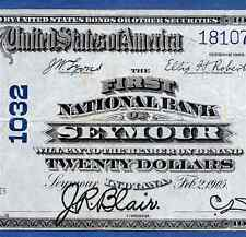 IN  1902 $20  ♚♚ SEYMOUR, INDIANA ♚♚  HARD TO FIND