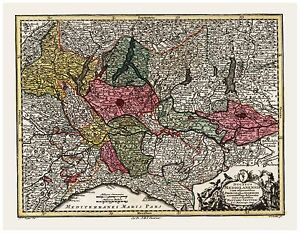 Old Vintage Map of Duchy of Milan Italy Seutter 1744