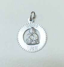 Sterling Silver Round Shape Good Luck Engraved Pendant