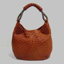 $3400 Nuti Cognac Ostrich Leather Hobo Bag