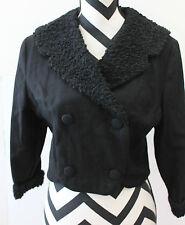 Vintage Short Black Doublebreasted Overcoat Jacket L#1082