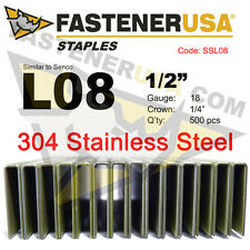 "L Staples L08 Stainless Steel 18 gauge 1/4"" crown - 1/2"" length  (500 ct)"