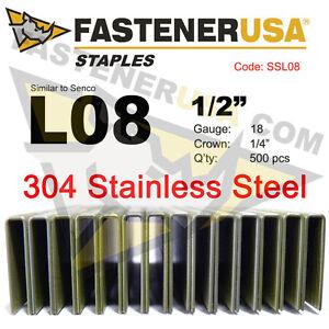 "L Staples L08 Stainless Steel 18 gauge 1/4"" crown - 1/2"" length  (500 ct)"