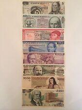 PESO SERIE MEXICO BANKNOTE 5,10,20,50,100,500,1000,2000 MEXICO UNC.