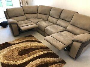 Harvey's Holden Corner Modular Brown Suede Sofa, Manual Recliner