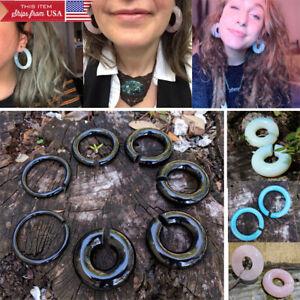 "Pair Stone Ear Hoops Organic Gemstone Light Weight Gauged Earrings 6G-11/16"" USA"