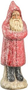 """Belsnickle Santa Figurine 16"""" tall, Red coat, frosted NEW"""