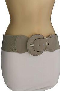 New Women Fashion Belt Hip High Waist Stretch Gray Beige Buckle One Size XS S M