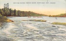 NORTH BAY ONTARIO CANADA~BIG PINE RAPIDS ON FRENCH RIVER POSTCARD 1955