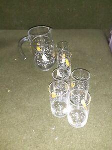Vintage Lemon French Jug and Set of 6 Glasses Set