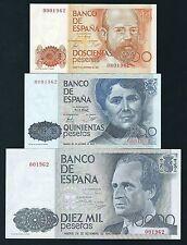 F.C. Numero bajo de 200 y 500 pesetas de 1980, 10.000 pts 1985, Sin Serie S/C.
