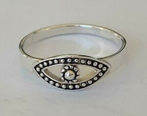 Genuine 925 Sterling Silver Evil Eye Protection Stackable Ring Size 5 6 7 8 9 10
