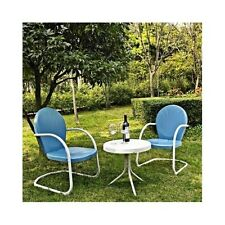 3 Pc Blue Retro Patio Set Metal Retro 50s Style Outdoor Lawn Porch Furniture