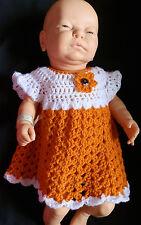 3-6 Months Hand Crocheted Baby Dress Orange and  White Handmade
