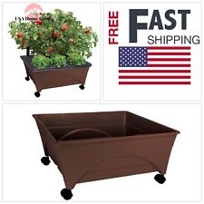 Raised Tomato Garden Bed Kit Vegetable Watering System Casters Outdoor Patio