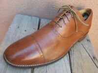 COLE HAAN GRAND OS Mens Dress Shoes British Tan Leather Cap Toe Oxford Size 10.5
