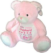 Personalised Teddy Bear Baby Shower Newborn Girl Birth Details Nursery Pink Gift