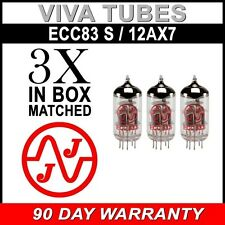 New In Box Gain Matched Trio (3) JJ Electronics Tesla 12AX7 ECC83-S Vacuum Tubes