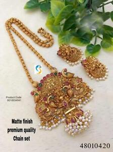 Gold Plated Indian Traditional Bollywood CZ AD New Pendent Necklace Earring plop