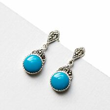 925 Sterling Silver Marcasite Vintage Drop Earrings with Natural Turquoise Stone