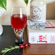 NEW POTTERY BARN Silver Gnome Red White Wine Beverage Glass Christmas Holiday