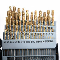 60Pcs Drill Bit Set M2 H-SS High Speed Steel Bits Numbered #1-60 Metal Case
