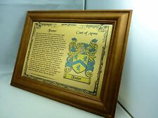 YOUR FAMILY NAME & CREST on BRUSHED GOLD METAL with Teak Wooden Surround Frame