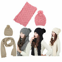 Women's Winter Knitted Scarf and Hat Set Thicken Skullcaps-gray H9C9