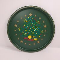 Nashco Round Metal Christmas Tray Hand Painted Christmas Tree Retro Art MCM