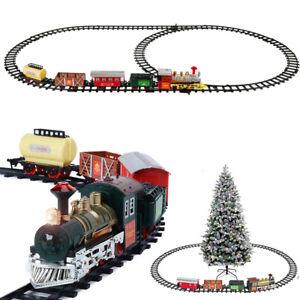 Luxury Electric Christmas Train Tracks Set Lights Sound Kids Toy Gift Tree Decor