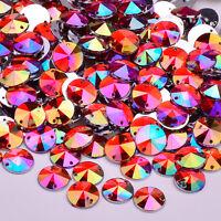50 x AB Red Sew on Acrylic Round Diamante Crystal Gems Rhinestone 10mm #3