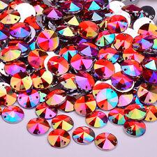 50 X AB Red Sew on Acrylic Round Diamante Crystal Gems Rhinestone 10mm