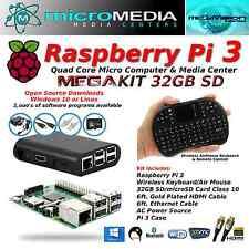 Raspberry Pi 3 Mega Kit-Quad Core Mini Computer Bluetooth Wifi Keyboard Mouse +