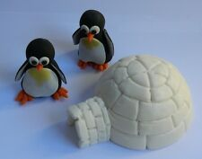 3D edible PENGUINS & IGLOO cake CUPCAKE topper DECORATION happy WINTER cute