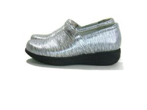 Greys Anatomy Clogs Silver Black Leather Softwalk Meredith Sport Nurse Womens 8
