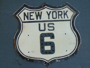 Vintage  NEW YORK US 6  Road Sign with Reflective Paint