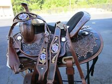 15 16 BARREL RACING PLEASURE TRAIL RODEO COWGIRL LEATHER WESTERN HORSE SADDLE