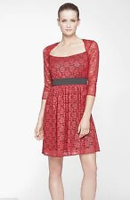 Marc New York By Andrew Marc Red Square Neck Lace Fit Flare Dress . NWT Sz.10