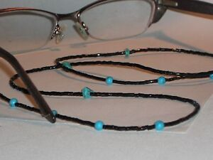 "Beaded Eyeglass Chain~Shiny Black Beads w/ Turquoise Accents~28"" Buy 3 SHIP FREE"
