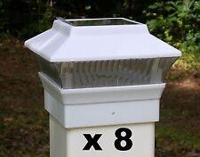 8 White Solar Light Fence Post Caps - For 4X4 PVC /  VINYL Posts - PL244W