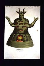 Dio Moloc di Raba Incisione colorata a mano del 1820 Mitologia Pozzoli
