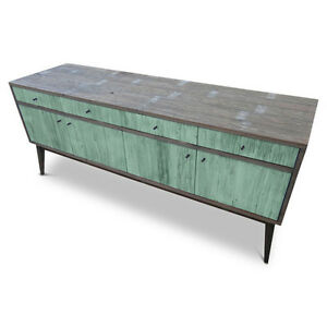 Rustic Wooden Lowline TV Stand Entertainment Unit Cabinet Corner Sideboard Green
